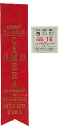 Football Collectibles:Tickets, 1927 Rose Bowl Ticket Stub and Press Ribbon....