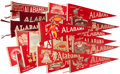 Football Collectibles:Uniforms, Circa 1945-72 Alabama Crimson Tide Football Pennants Lot of 22 - With One Signed by Namath....