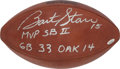 Football Collectibles:Balls, 1968 Super Bowl II Game Used Football Signed by Bart Starr - With Letter From Referee....