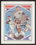 Baseball Collectibles:Others, Circa 1990 Triple Crown Winners Signed Print, PSA/DNA Gem Mint10....
