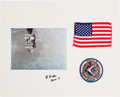 Explorers:Space Exploration, Apollo 15 Flown American Flag on Display Mat Directly from thePersonal Collection of Mission Command Module Pilot Al Word...