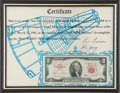 Explorers:Space Exploration, Gemini 3 (Molly Brown) Flown Crew-Signed Two-Dollar Bill onOriginal Signed Certificate....