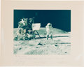 Autographs:Celebrities, Apollo 16 Large Color Mission Photo Crew-Signed on the Mat,Directly from the Jim Rathmann Collection....