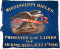"""Military & Patriotic:Civil War, 30"""" X 36"""", Blue Silk, Handpainted, Center Section Of The Presentation Flag Of The """"Mississippi Rifles"""", Escort And Honor Guard..."""