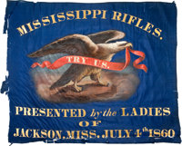 "30"" X 36"", Blue Silk, Handpainted, Center Section Of The Presentation Flag Of The ""Mississippi Rifles&quo..."