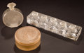 Art Glass:Lalique, R. LALIQUE FROSTED GLASS PERFUME ITEMS . Circa 1912 and later.Molded: LALIQUE, R. LALIQUE, FRANCE . Engraved: Lalique...(Total: 3 Items)