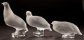 Art Glass:Lalique, THREE LALIQUE CLEAR AND FROSTED GLASS PERDRIK FIGURINES .Post 1945. Engraved: Lalique, France . 6-7/8 inche...(Total: 3 Items)