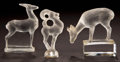 Art Glass:Lalique, TWO LALIQUE FROSTED GLASS DEER PAPERWEIGHTS AND A SEAL . Circa 1929and later . Stamped and wheel carved to one: R. LALIQUE,... (Total:3 Items)