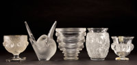 FIVE LALIQUE CLEAR AND FROSTED GLASS VASES Post 1945 Engraved: Lalique, France Label: CRISTAL