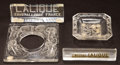 Art Glass:Lalique, TWO LALIQUE CLEAR GLASS TRADE SIGNS, NAIADE FRAME ANDANNA ASHTRAY. Circa 1926 and later . Engraved:... (Total: 4Items)