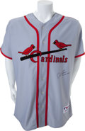 Baseball Collectibles:Uniforms, 2010 David Freese Game Worn Signed St. Louis Cardinals Civil Rights Jersey....