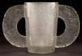 Art Glass:Lalique, R. LALIQUE CLEAR AND FROSTED GLASS PETRARQUE VASE WITH GREYPATINA . Circa 1929. Stenciled: R. LALIQUE. 8-1/2 in...