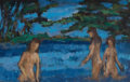 Texas, DONALD STANLEY VOGEL (American, 1917-2004). Study ofBathers. Oil on canvas laid on board. 5 x 8 inches (12.7 x 20.3cm)...