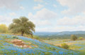 Texas:Early Texas Art - Regionalists, PORFIRIO SALINAS (American, 1910-1973). Country Hillside withBluebonnets. Oil on canvas. 24 x 36 inches (61.0 x 91.4 cm...