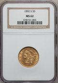 Liberty Half Eagles: , 1892-S $5 MS62 NGC. NGC Census: (61/9). PCGS Population (60/32).Mintage: 298,400. Numismedia Wsl. Price for problem free N...
