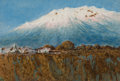 Texas:Early Texas Art - Regionalists, JOSÉ ARPA PEREA (Spanish, 1860-1952). Iztaccíhuatl Mountain,Mexico, circa 1898. Gouache and tempera on paper. 4 x 6 inc...