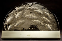 R. LALIQUE CLEAR AND FROSTED GLASS YESO PLAQUE WITH ILLUMINATING BASE Circa 1930