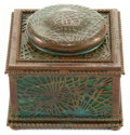 Art Glass:Tiffany , TIFFANY STUDIOS GLASS AND BRONZE PINE NEEDLE INKWELL . Greenglass with bronze mounts in the Pine Needle pat...