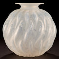 Art Glass:Lalique, R. LALIQUE OPALESCENT GLASS MARISA VASE WITH BLUE PATINA .Circa 1927. Engraved: R. Lalique, France. 8-7/8 i...