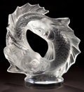 Art Glass:Lalique, LALIQUE CLEAR AND FROSTED GLASS DEUX POISSONS STATUETTE .Post 1945. Engraved: Lalique, France . 11 inches h...