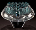 Art Glass:Lalique, LALIQUE CLEAR AND BLUE GLASS VAGUES CENTER BOWL . Post 1945.Engraved: Lalique, France. 7-1/4 inches high (1...