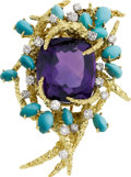 Estate Jewelry:Brooches - Pins, Amethyst, Turquoise, Diamond, Platinum, Gold Brooch, Gilbert Weil....