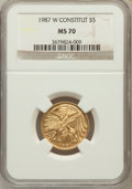Modern Issues: , 1987-W G$5 Constitution Gold Five Dollar MS70 NGC. NGC Census:(4922). PCGS Population (1218). Mintage: 214,225. Numismedia...