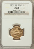 Modern Issues: , 1989-W G$5 Congress Gold Five Dollar MS70 NGC. NGC Census: (1093).PCGS Population (237). Mintage: 46,899. Numismedia Wsl. ...