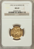 Modern Issues, 1992-W G$5 Olympic Gold Five Dollar MS69 NGC. NGC Census: (0/0).PCGS Population (1756/350). Mintage: 27,732. Numismedia Ws...