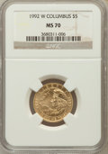 Modern Issues: , 1992-W G$5 Columbus Gold Five Dollar MS70 NGC. NGC Census: (827).PCGS Population (286). Mintage: 24,329. Numismedia Wsl. P...