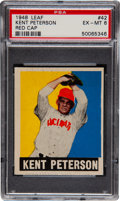 Baseball Cards:Singles (1940-1949), 1948 Leaf Kent Peterson, Red Cap #42 PSA EX-MT 6. ...