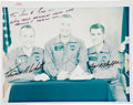 Autographs:Celebrities, Apollo 1 Crew-Signed Color Photo Directly from the Jim Rathmann Collection....