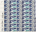 """Autographs:Celebrities, Apollo 15: Pane of Forty U.S. 5¢ """"Astronaut"""" and """"Gemini 4 Capsule""""Stamps (Scott #1331/1332) Signed by Scott and Worden, Dire..."""