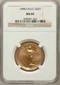 Modern Bullion Coins: , 1988 G$25 Half-Ounce Gold Eagle MS69 NGC. NGC Census: (3063/29). PCGS Population (1257/31). Mintage: 45,000. Numismedia Wsl...