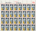 "Autographs:Celebrities, Apollo 15: Sheet of Thirty-Two U.S. 10¢ ""First Man on the Moon""Stamps (Scott #C76) Signed by Scott and Worden, Directly f..."
