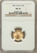 Modern Bullion Coins: , 1987 G$5 Tenth-Ounce Gold Eagle MS70 NGC. NGC Census: (100). PCGSPopulation (6). Mintage: 580,226. Numismedia Wsl. Price f...