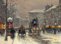 Fine Art - Painting, European:Modern  (1900 1949)  , EDOUARD-LÉON CORTÈS (French, 1882-1969). Place de laMadeleine--Hiver. Oil on canvas. 13 x 18-1/4 inches (33.0 x46.4 cm...