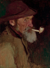 EDWARD HENRY POTTHAST (American, 1857-1927) A Maine Fisherman Oil on canvas 20-1/4 x 15-1/4 inche