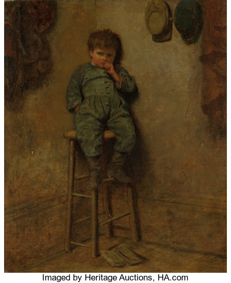 EASTMAN JOHNSON (American, 1824-1906) Little Boy on a Stool, 1861 Oil on canvas 11-1/4 x 9-1/4 inches (28.6 x 23.5 cm... (Total: 2 Items)
