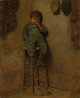 EASTMAN JOHNSON (American, 1824-1906) Little Boy on a Stool, 1861 Oil on canvas 11-1/4 x 9-1/4 inches (28.6 x 23.5 cm...