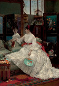 Fine Art - Painting, European:Antique  (Pre 1900), JULES EMILE SANTIN (French, 1829-1894). Reflections, 1875.Oil on panel. 29-1/2 x 21 inches (74.9 x 53.3 cm). Signed and...