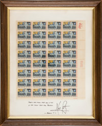 "Neil Armstrong Autograph Quote Signed beneath Mounted Sheet of ""First Man on the Moon"" Stamps, with Typed Lett..."