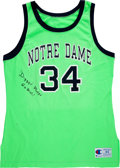 Basketball Collectibles:Uniforms, 1991 Oliver Gibson Game Worn Notre Dame One Game Style JerseySigned by Digger Phelps. ...