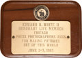 Explorers:Space Exploration, Ed White II: Chicago Press Photographers Plaque....