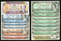 Canadian Currency: , Bank of Canada Group Lot . ... (Total: 14 notes)
