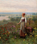 Paintings, DANIEL RIDGWAY KNIGHT (American, 1839-1924). Evening at Chantemesle. Oil on canvas. 22-1/4 x 18-3/4 inches (56.5 x 47.6 ...