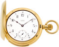Timepieces:Pocket (pre 1900) , Waltham Rare 18k Gold Five Minute Repeater, 16 Size, Original Box& Chain, circa 1888. ...