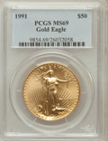Modern Bullion Coins: , 1991 G$50 One-Ounce Gold Eagle MS69 PCGS. PCGS Population(1662/29). NGC Census: (1347/17). Mintage: 243,100. NumismediaWs...