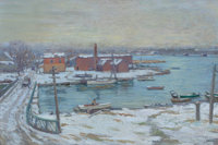 CHARLES MORRIS YOUNG (American, 1869-1964) Winter, Cos Cob, Connecticut, From the Bush-Holly House Looking Nort