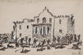 Western:Modern, OSCAR EDWARD BERNINGHAUS (American, 1874-1952). The Alamo.Pen and ink on paper. 5 x 7-1/2 inches (12.7 x 19.1 cm). Sign...